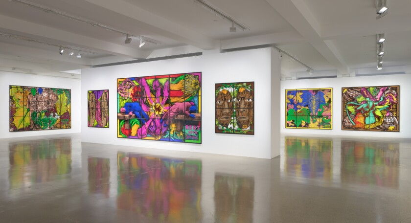 "Installation view of the Gilbert & George show ""The Paradisical Pictures"" at Sprüth Magers."