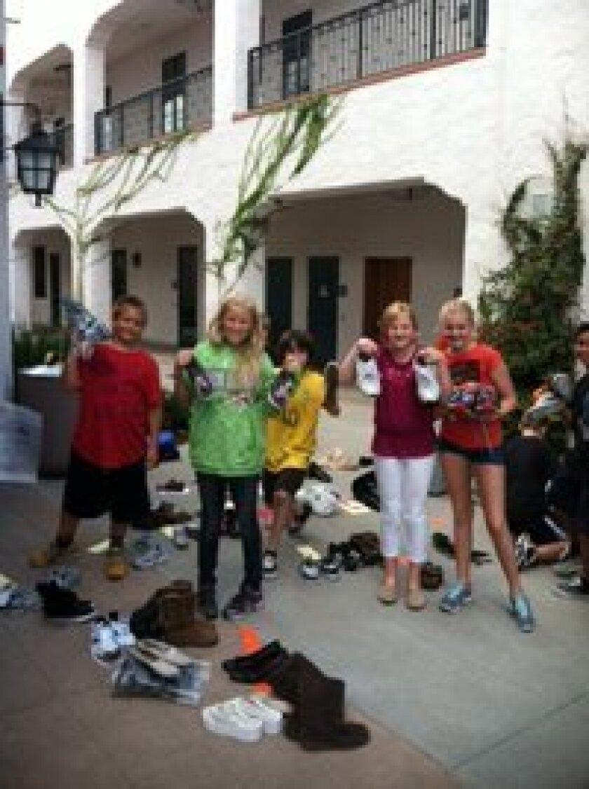 Shoe Drive: Lucas Swortwood, Elle DeGoler, Daniel Ruggiero, Vicki McMillian, RiAnna Wright, Aaron Lusting (at far right)