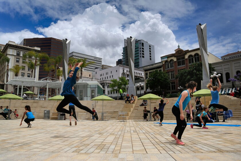 Malashock Dance Junior Company performs at the grand opening of Horton Plaza Park adjacent to Westfield Horton Plaza Saturday.