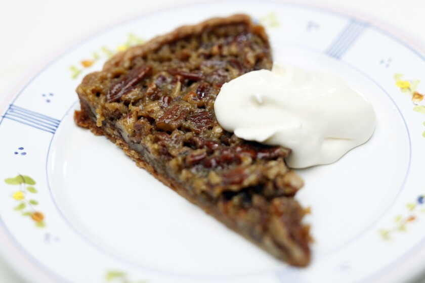 Gergis' maple pecan tart is made with creme fraiche in the crust and then is served with whipped creme fraiche for a less sweet version of a pecan pie. Gergis uses a tart pan to allow for a higher ratio of pecan to custard. Recipe: maple pecan tart