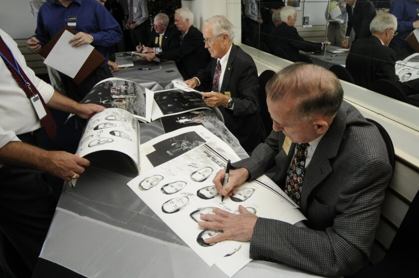 Walt Cunningham is one of the former astronauts to be honored at the San Diego Air & Space Museum and the USS Midway Museum this weekend. (David Brooks / Union-Tribune)