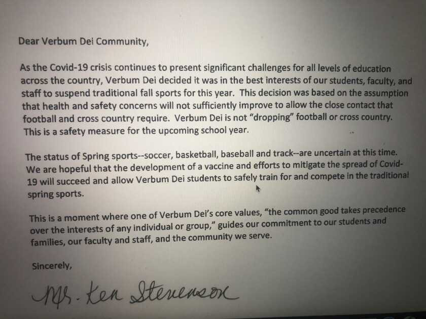 Letter from Verbum Dei athletic director informing community that fall sports has been suspended because of COVID-19.