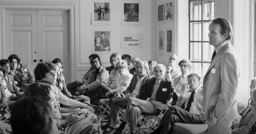 George Stevens Jr. addresses the incoming AFI Fellows on Sept. 24, 1976.