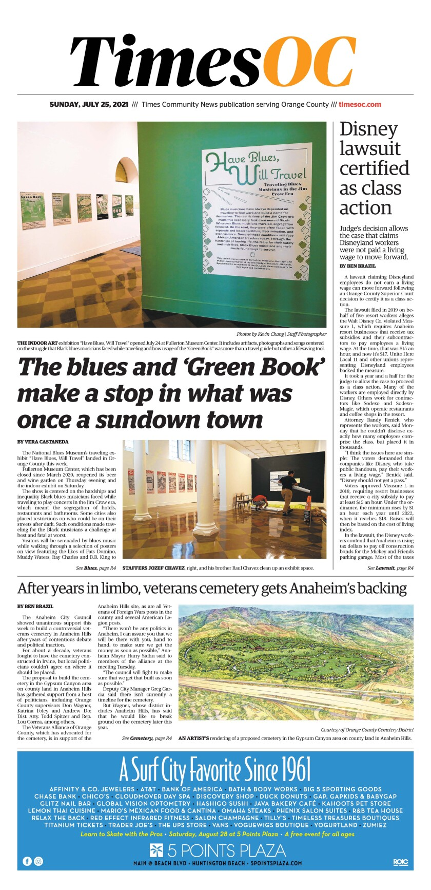 Front page of TimesOC e-newspaper for Sunday, July 25, 2021.