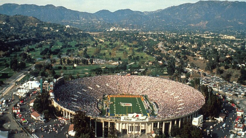 The Rose Bowl, shown in 2001, is the only college football bowl game played on an ever-changing postcard.
