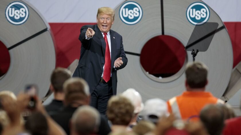 President Trump Discusses Trade And Tariffs At Illinois Steel Plant