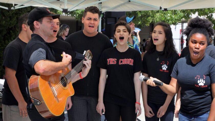 August 11, 2017_Vista, California_ At Freshman Orientation at Vista High School music teacher John N