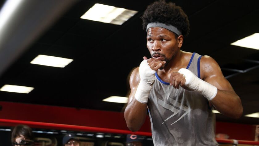 Welterweight boxer Shawn Porter shadow boxes during a training session in Las Vegas last month.