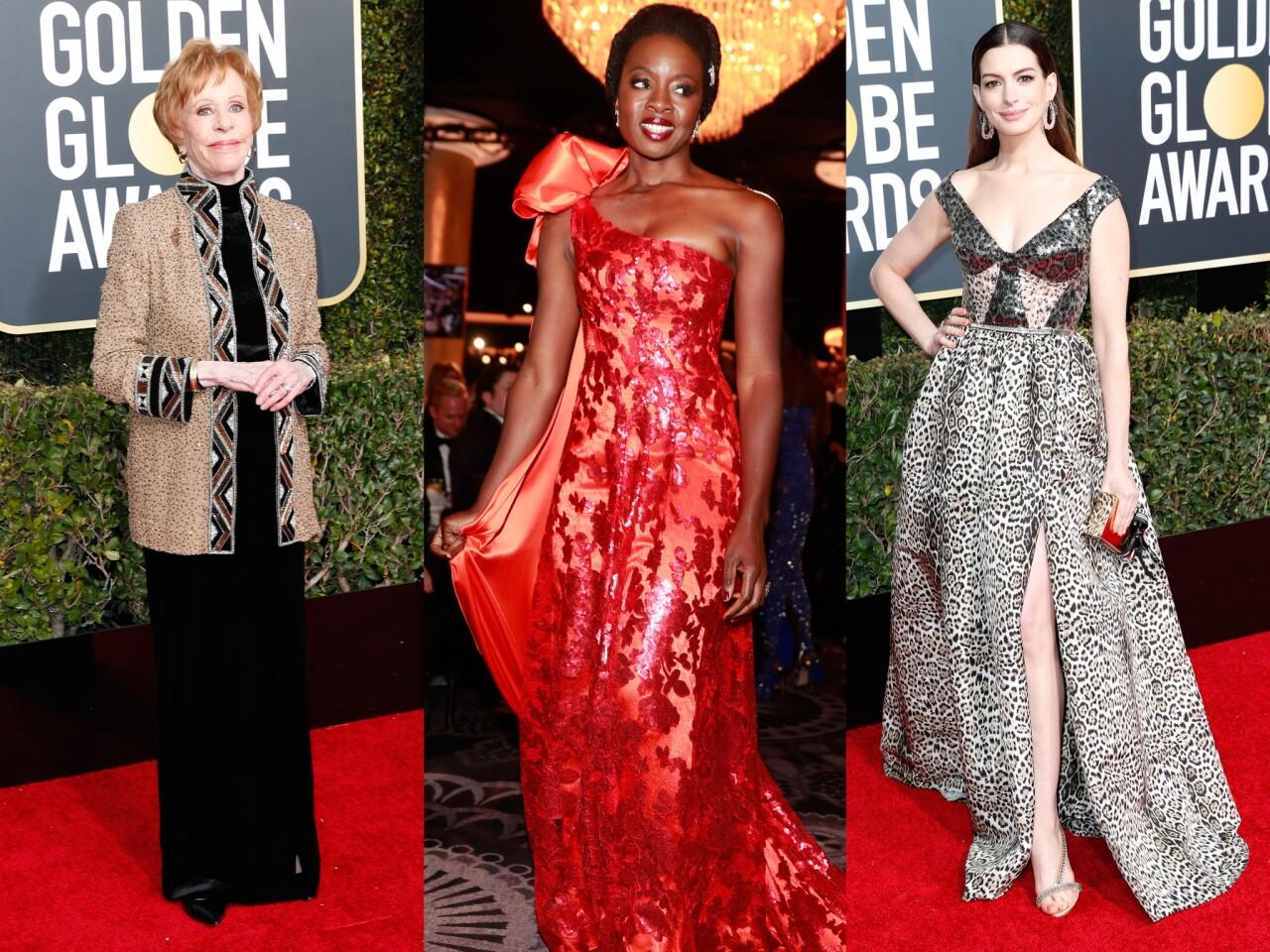 The best and worst looks of the 2019 Golden Globe Awards. From left: Carol Burnett, Danai Gurira and Anne Hathaway.