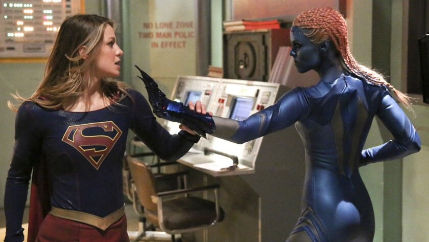 "Melissa Benoist, left, and guest star Laura Vandervoort s in a new ""Supergirl"" on CBS."