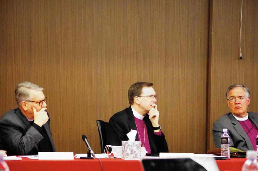 The Right Rev. Erik Larsen, the Right Rev. Nicholas Knisely and the Right Rev. Herman Hollerith, from left, are part of the five-member panel conducting Bishop J. Jon Bruno's misconduct hearing in Pasadena.