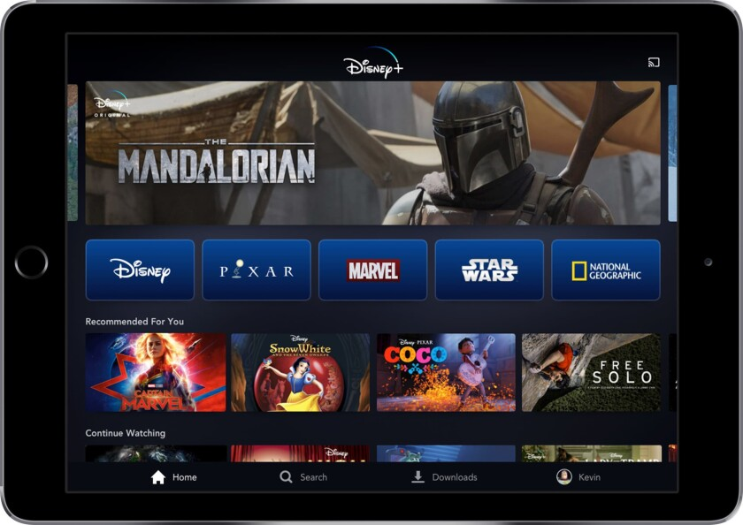 This image provided by Disney shows a product image of Disney Plus on a tablet. The video steaming s