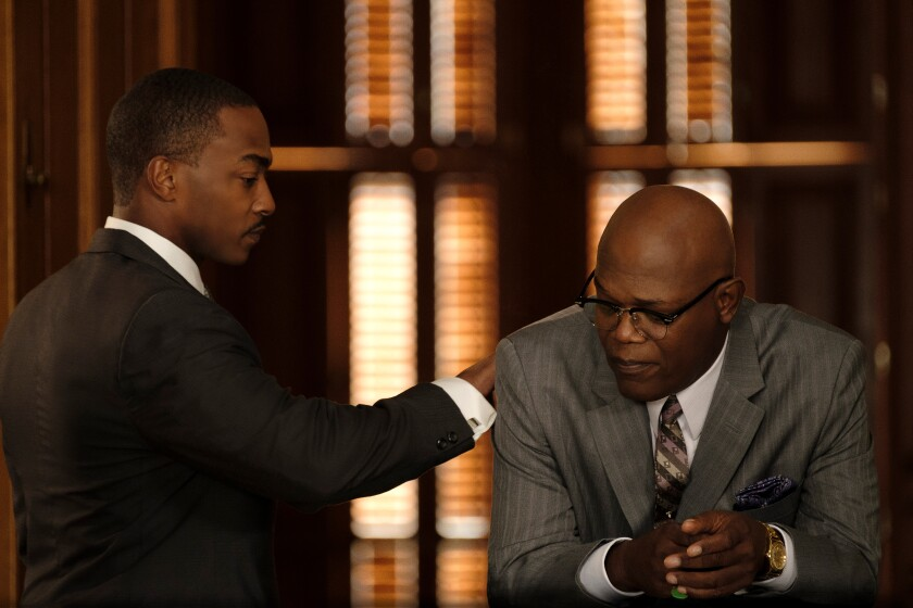 """Anthony Mackie and Samuel L. Jackson costar in the fact-based drama """"The Banker."""""""