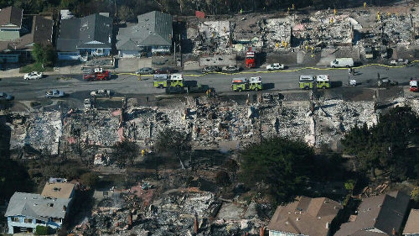A PG&E gas pipeline explosion killed eight people and destroyed dozens of homes Sept. 10, 2010, in San Bruno, Calif.
