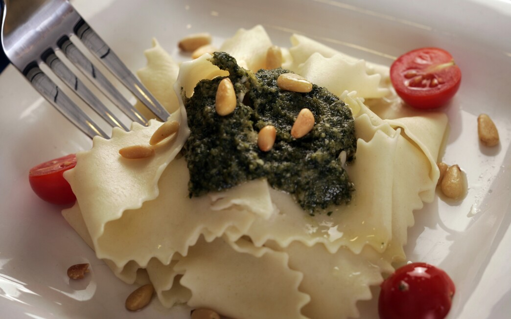 Pappardelle with pesto