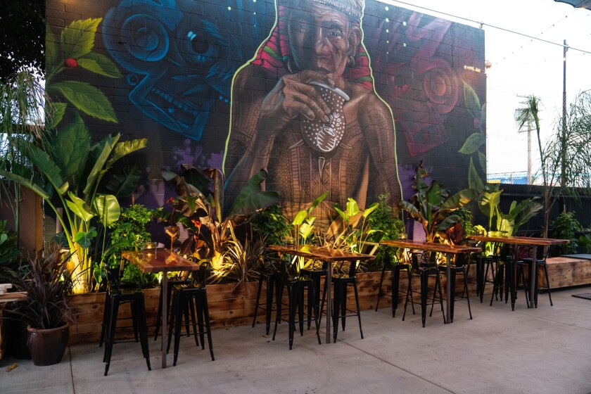 The new outdoor tasting room for Kove Hard Yerba Mate in Barrio Logan.