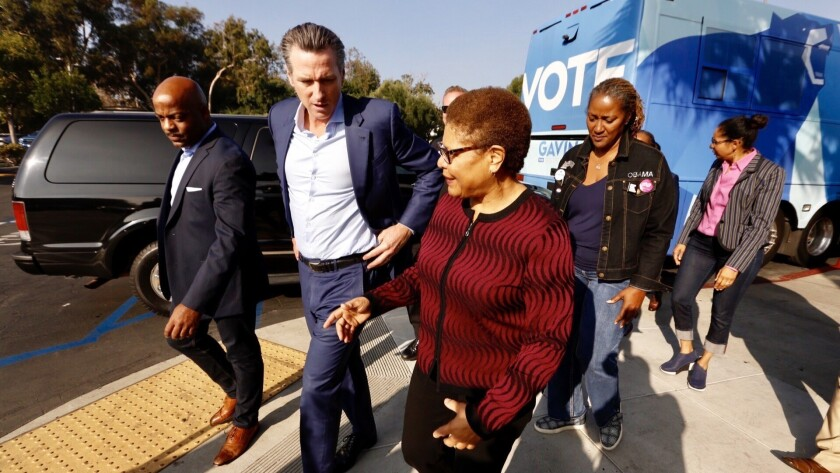 LOS ANGELES CA NOVEMBER 5, 2018 -- Gubernatorial candidate Gavin Newsom is greeted by House of Rep.