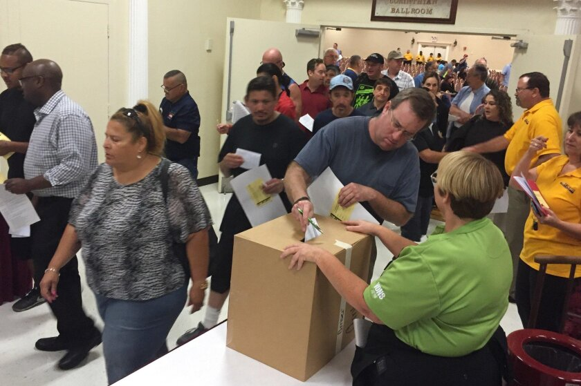 Workers from the United Food & Commercial Workers union voted Monday on a new 3-year contract at the Scottish Rite Event Center in Mission Valley.