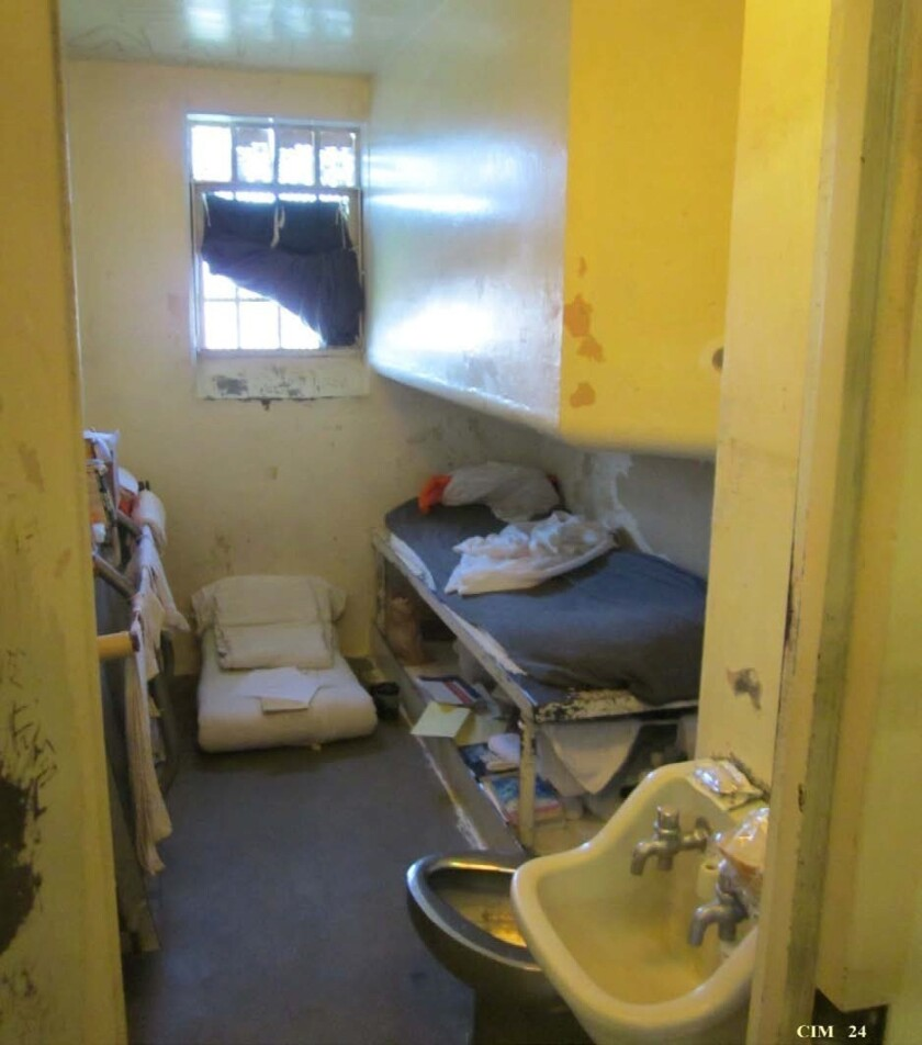 California prison crowding includes housing two inmates in cells built to hold one, such as this cell at the California Institute for Men in Chino.