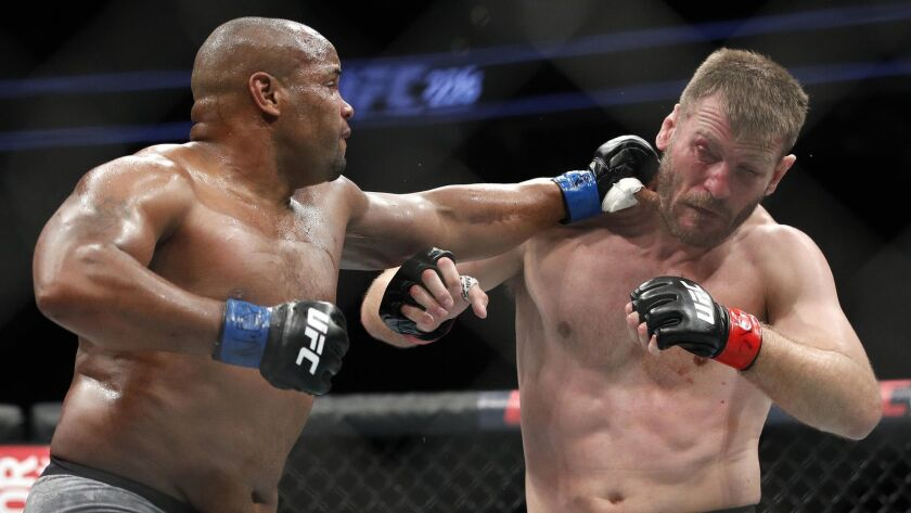 Daniel Cormier, left, defeated Stipe Miocic by knockout July 7, 2018, in Las Vegas.