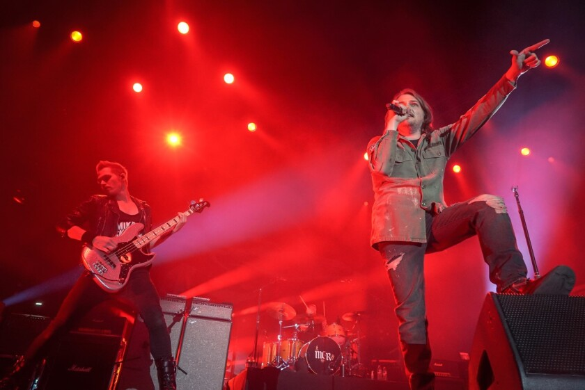 Mikey Way, left, and Gerard Way of My Chemical Romance perform Dec. 21 at the Shrine Expo Hall.