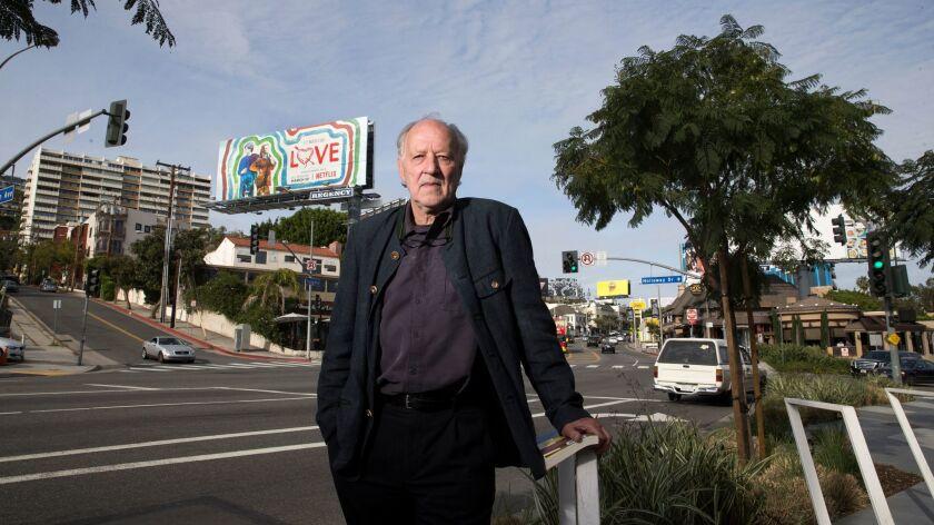 Director Werner Herzog on the Sunset Strip.