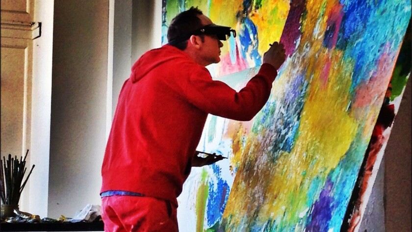 Artist Davyd Whaley at work in his studio.