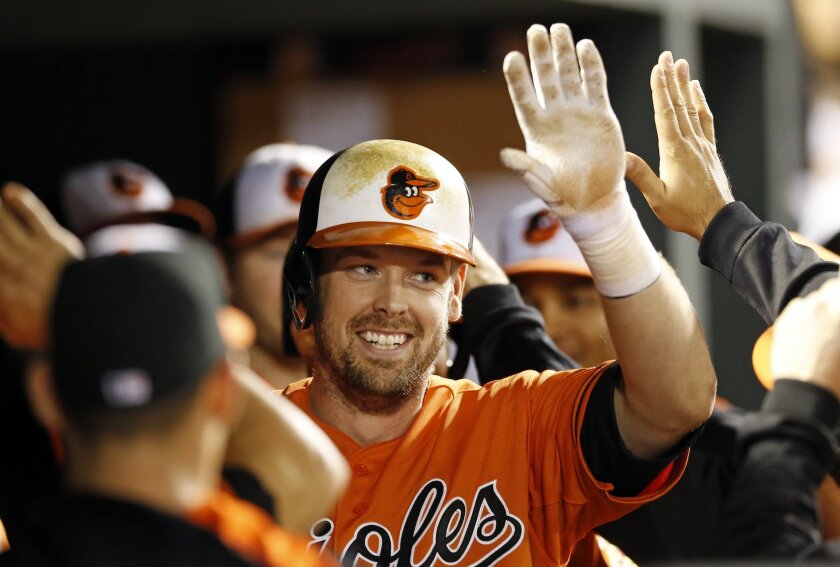 FILE - In this Sept. 30, 2015, file photo, Baltimore Orioles' Matt Wieters high-fives teammates after hitting a two-run home run in the eighth inning of the second baseball game of a doubleheader against the Toronto Blue Jays, in Baltimore. Catcher Matt Wieters has accepted the Baltimore Orioles' $