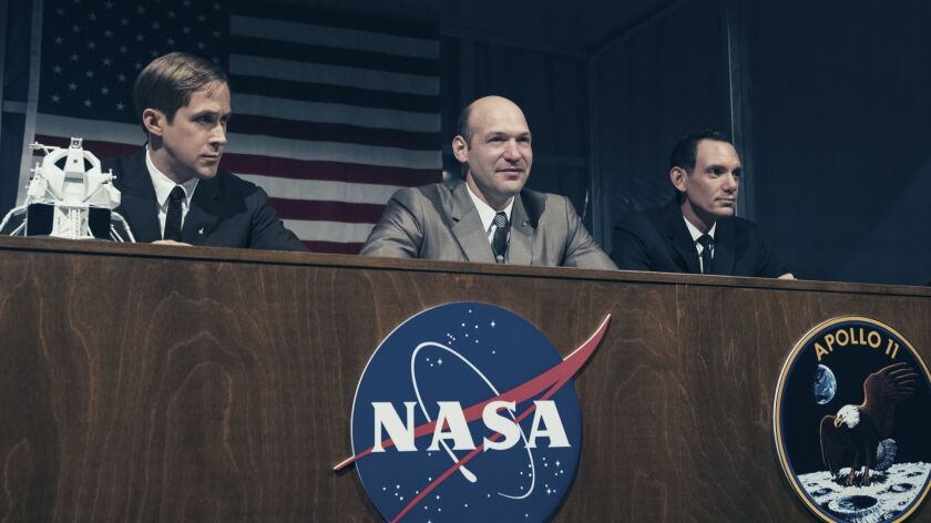 This image released by Universal Pictures shows Ryan Gosling, from left, Corey Stoll and Lukas Haas