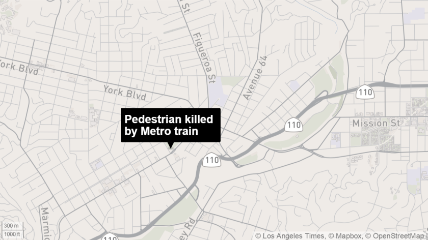 A pedestrian was killed by a Metro train in Highland Park.