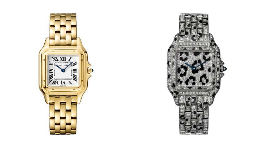 At left, the Panthère de Cartier in yellow gold ($21,200). At right, a version in white gold with di