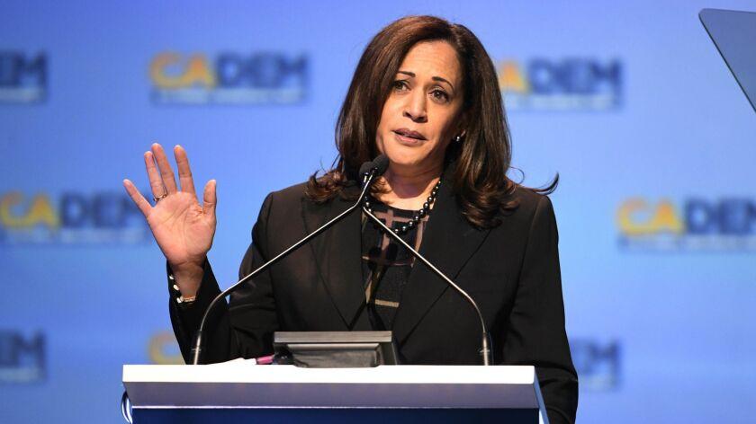 FILE - In this Feb. 24, 2018, file photo, Sen. Kamala Harris D-Calif., speaks at the 2018 California