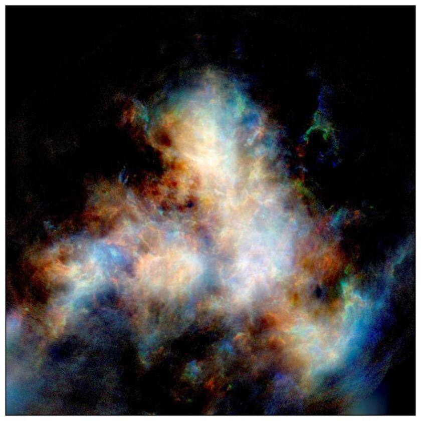 Imagen de archivo tomada por el telescopio ASKAP de CSIRO de la Pequeña Nube de Magallanes, una galaxia enana cercana a la VíaLáctea, que muere lentamente porque está perdiendo gradualmente su energía para formar estrellas, según un estudio de astrónomos australianos publicado hoy. EFE/CSIRO/Naomi McClure-Griffiths