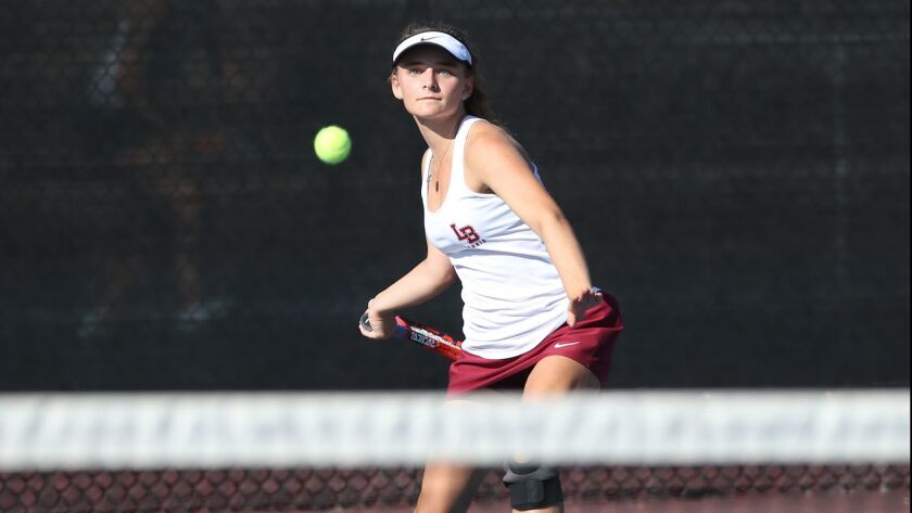 Laguna Beach High's Sarah MacCallum, pictured competing against Edison on Oct. 9, led the way to the Breakers' 12-6 upset of No. 4-seeded Rancho Cucamonga Alta Loma in the first round of the CIF Southern Section Division 3 playoffs on Wednesday.