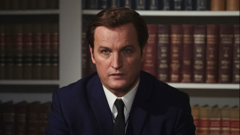 "This image released by Entertainment Studios shows Jason Clarke as Ted Kennedy in a scene from ""Chap"