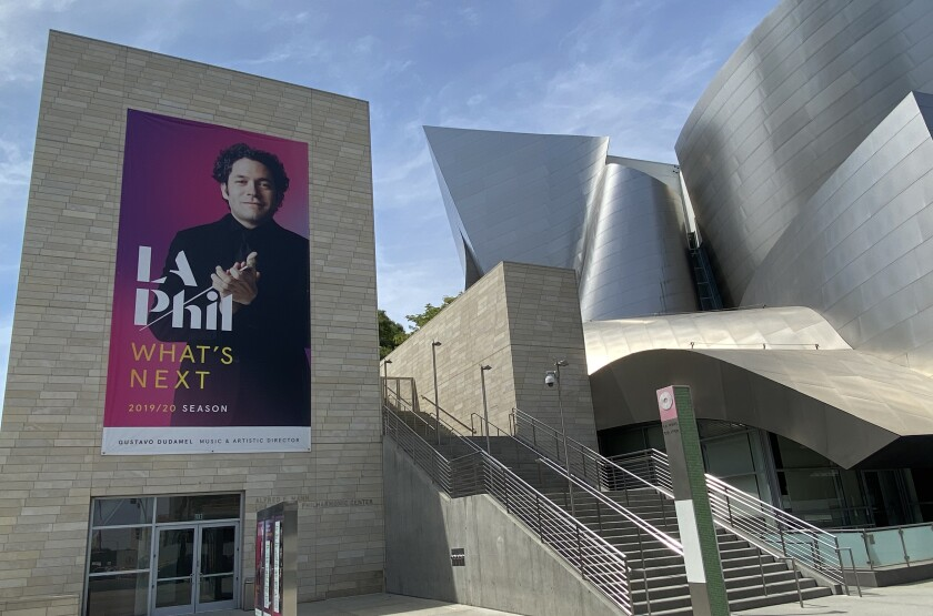 "A banner on Walt Disney Concert Hall reads ""What's Next."""