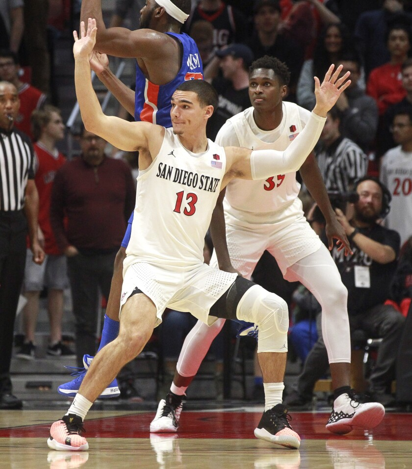 SDSU's Caleb Giordano (front) and Joel Mensah, shown during game against Boise State in January, have both transferred.