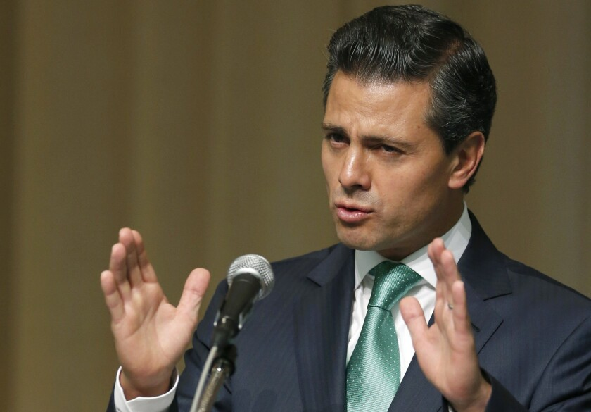 Mexico's President Enrique Peña Nieto speaks during a lecture at United Nations University in Tokyo on Tuesday.