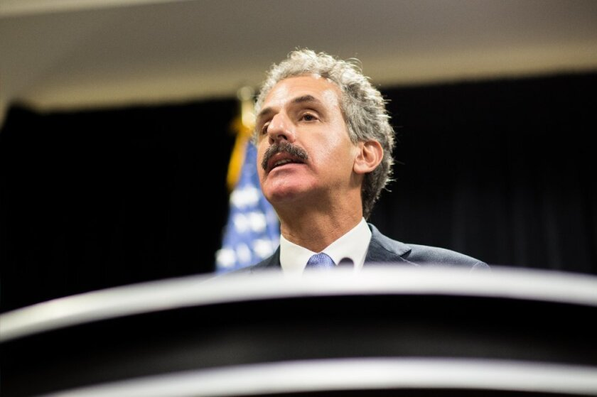 Los Angeles City Atty. Mike Feuer speaks to the media during the inaugural National Prosecutorial Summit in Atlanta on Oct. 21.