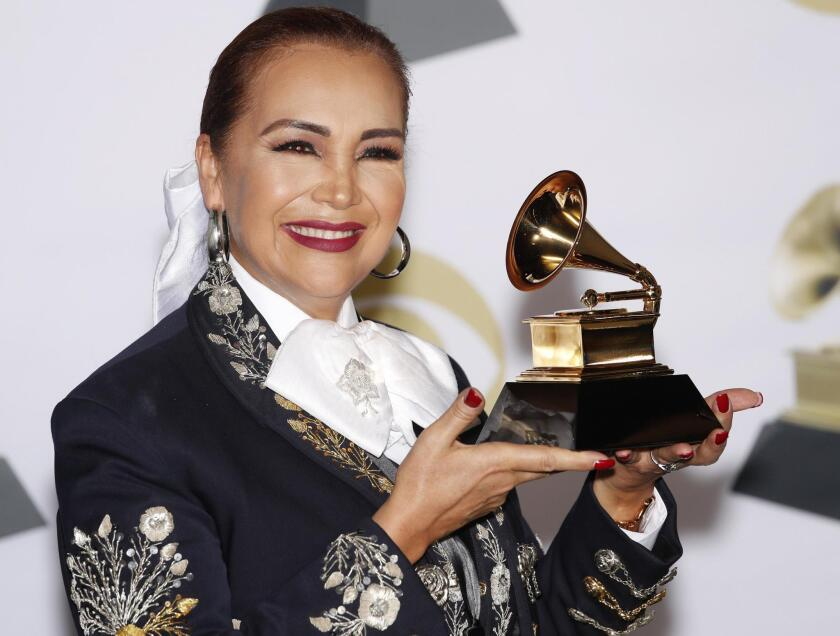 Aida Cuevas poses in the press room with the Grammy for Best regional Mexican Music Album during the 60th annual Grammy Awards ceremony at Madison Square Garden in New York, New York, USA, 28 January 2018.