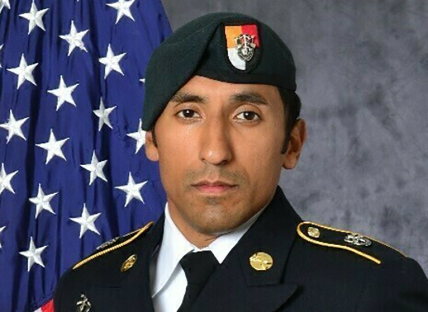 FILE - This undated photo provided by the U.S. Army shows Army Green Beret Logan Melgar, who died from non-combat related injuries in Mali in June 2017. A member of an elite group of U.S. Marines has been found not guilty of murder for his role in the hazing death of Melgar while the men served in Africa, the U.S. Navy said in a news release on Friday, July 2, 2021. But Gunnery Sgt. Mario Madera-Rodriguez was convicted of several other charges that include involuntary manslaughter, hazing and conspiracy to commit assault and battery. He faces a maximum possible sentence of 27.5 years in prison as well as a reduction in rank and a dishonorable discharge. (U.S. Army via AP, File)
