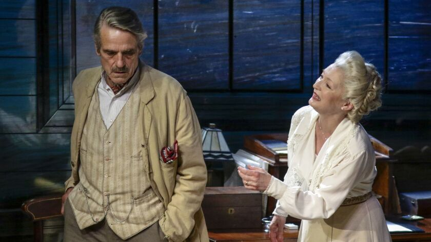 BEVERLY HILLS, CA. JUN. 08, 2018. Jeremy Irons (James Tyrone) and Lesley Manville (Mary Tyrone) per