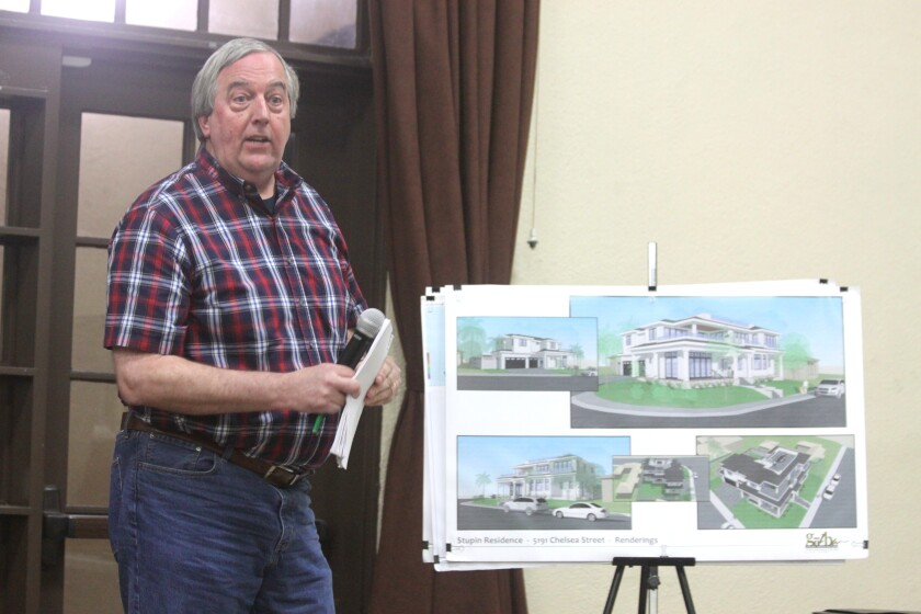 Architect Tim Golba presents plans for the Stupin Residence project at 5191 Chelsea St. in Bird Rock during the Oct. 3 La Jolla Community Planning Association meeting at the Rec Center.