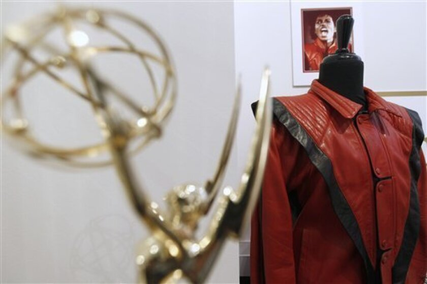 In this May 26, 2011 photo, auction items that belonged to Michael Jackson are displayed at Julien's Auctions in Beverly Hills, Calif. Items are among the memorabilia available for auction on June 25 and June 26, 2011, at Julien's Auctions. (AP Photo/Matt Sayles)