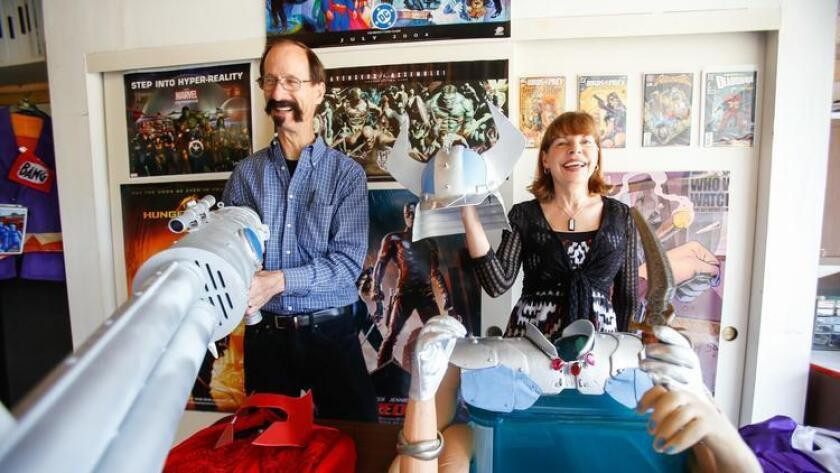 Gary and Liz Ochs show off a collection of Cosplay costumes at their home in Carlsbad. (/ Alejandro Tamayo)