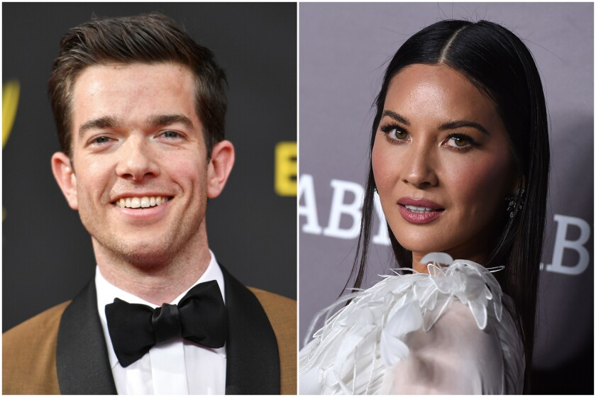 A split image of a man with short brown hair and a woman with long black hair.