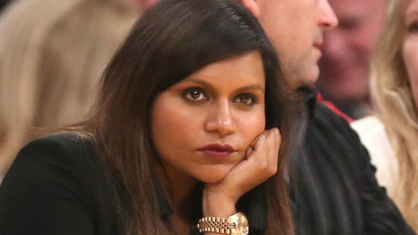 """This is Mindy Kaling at a Lakers game in April -- but we like to think that her expression is how every fan of """"The Mindy Project"""" is feeling right about now. Every fan except the ones who are crying hysterically over her show's cancellation, of course."""