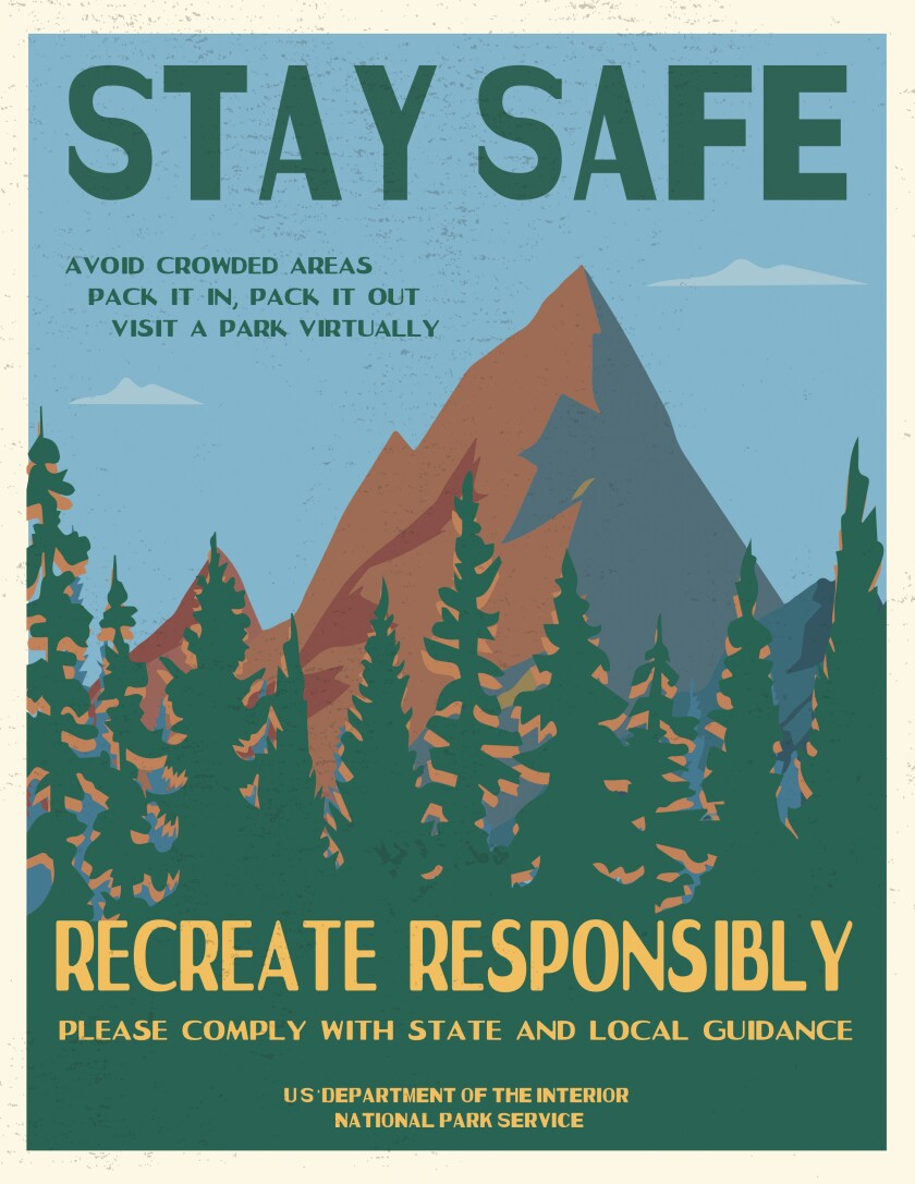 Poster from the National Park Service reminding people about social distancing.