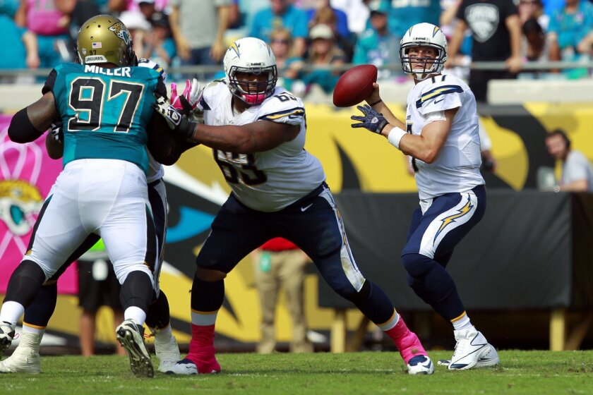 Chargers Philip Rivers  throws against the Jaguars as Johnnie Troutman blocks.