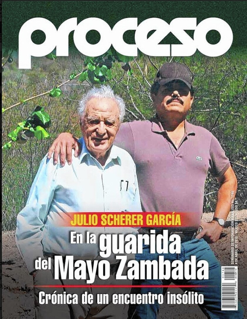 """Journalist Julio Scherer Garcia, left, appears with Ismael """"El Mayo"""" Zambada on the cover of a 2010 edition of the newsmagazine Proceso. Zambada is believed to have succeeded Joaquin """"El Chapo"""" Guzman as boss of the Sinaloa drug cartel."""